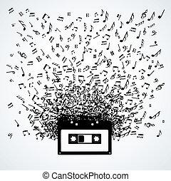 Musiknotizen aus einer Kassette, isoliert