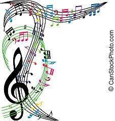 Musiknotizen Hintergrund, stilvolle musikalische Komposition, vecto.