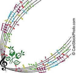 Musiknotizen Hintergrund, stilvoller musikalischer Themenrahmen, Vektor illu.