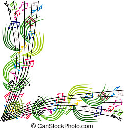 Musiknotizen Komposition, stilvolle musikalische Hintergrundmusik, vecto.