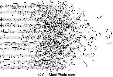 Musiknotizen tanzen weg