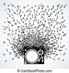 Musiknotizen vom Plattenspieler isoliert