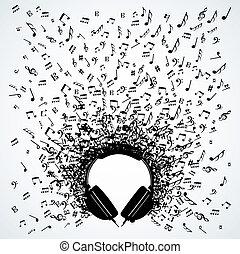Musiknotizen von Kopfhörern isoliertem Design