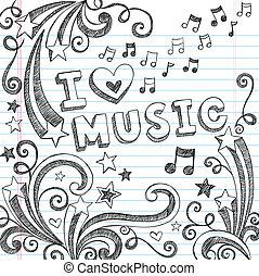 Musiknotizen, zwielichtiger Doodles Vektor