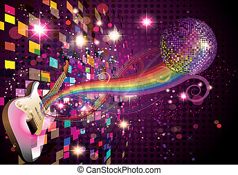 Musikregenbogen und abstrakter Hintergrund
