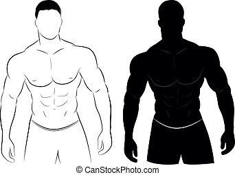 muskel, silhouette, mann