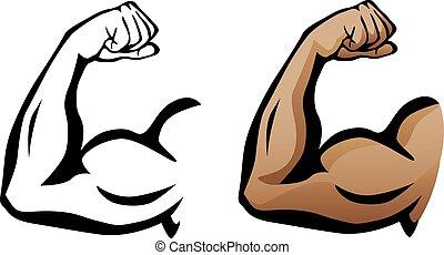 Muskelarm Flexing Bizeps.