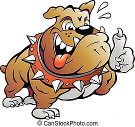 Muskulärer Stierhund, der Daumen nachgibt.
