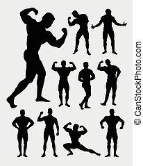 muskulös, bodybuilder, kerl, silhouette