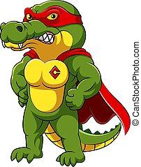 muskulös, kostüm, krokodil, rotes , honigraum, koerper, helden, tragen
