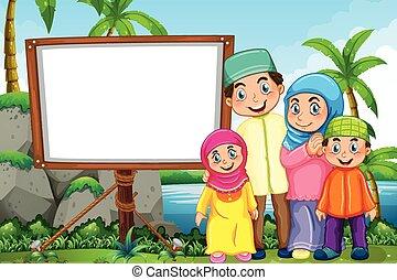 Muslimische Familie im Park.
