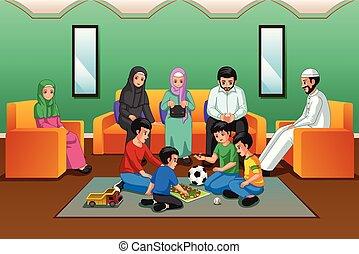 Muslimische Familie spielt im Wohnzimmer.