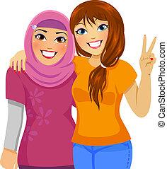 Muslimische und weiße Freunde.
