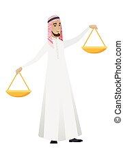 Muslimischer Geschäftsmann, der die Balance hält.