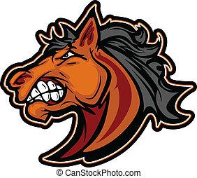 Mustang-Hengstions-Maskott-Karikatur-Vektorbild