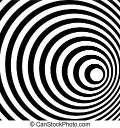 muster, abstrakt, spirale, hintergrund., schwarz, weißer ring