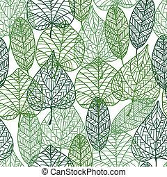 muster, blätter, grün, seamless