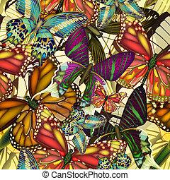 muster, bunte, butterflies., seamless, eps10