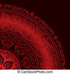 muster, dekorativ, weinlese, rotes , rahmen, runder