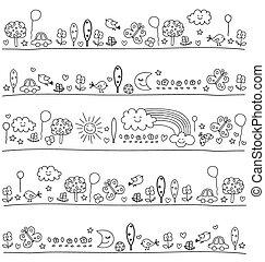 Muster für Kinder mit süßen Naturelementen.
