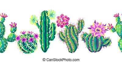 muster, flowers., kakteen, seamless