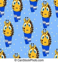 muster, geschenk, abbildung, vektor, fröhlich, reizend, scarf., giraffe, tier, weihnachten, jahr, farbe, seamless, verpackung, gewebe, plakat, tapete, gesicht, winter, paper., stoff, neu , hintergrund.