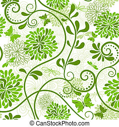 muster, green-white, blumen-