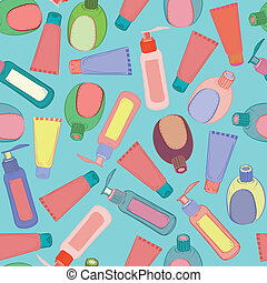 muster, kosmetisch, flaschen