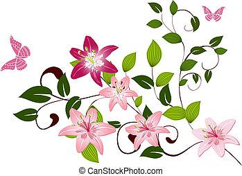 muster, lilien, blume, zweig