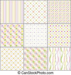Muster mit Blumen, Streifen und Form