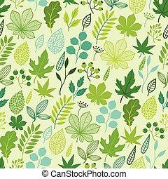 Muster mit stilisierten grünen Blättern.