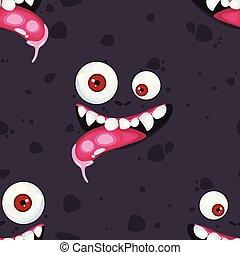 muster, monster., karikatur, ausdruck, halloween, seamless