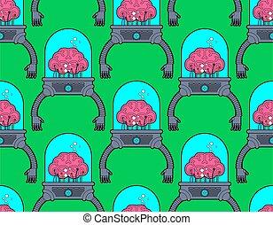 muster, organs., hände, seamless., hands., robotic, künstlich, technologie, gehirn, hintergrund, menschliche , roboter, intelligenz, future., eisen, cyborg