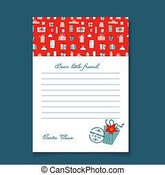 muster, santa, wohnung, postalisch, claus, design., geschenk, template., kasten, hand, gezeichnet, brief, weihnachten, vektor, stamp.