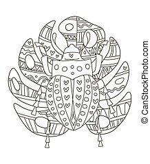 muster, seiten, details, zeichnung, klein, buch, antistress, käfer, tropische , adults., hand, blatt, schöne , färbung, monstera, kinder, creativity.