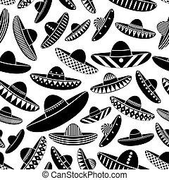 muster, sombrero, hut, mexiko, schwarz, heiligenbilder, veränderungen, seamless, eps10