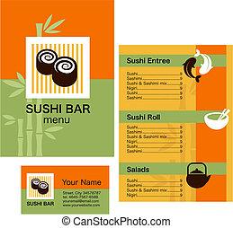 Muster von Sushi-Menü und Visitenkarte