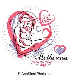 mutter, begrifflich, flieger, frau, sketchy, koerper, tag, schwanger, vektor, illustration., elegant, silhouette