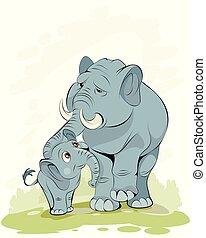Mutter eines kleinen Elefanten.