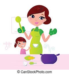 Mutter kocht gesundes Essen mit Kind in der Küche