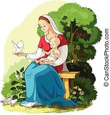 Mutter Maria hält Baby Jesus Vektor-Cartoon-Christine Illustration