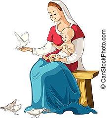 Mutter Maria mit Baby Jesus Vektor-Karikaturen christliche Illustration isoliert auf weiß.