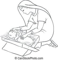 Mutter Maria mit Kind Jesus in der Krippe.