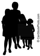 Mutter mit drei Töchtern.