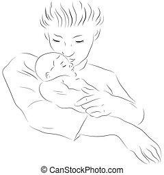 Mutter mit einem schlafenden Baby.