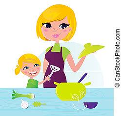 Mutter mit Kind, die gesunde Küche kocht