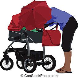 Mutter mit Kutsche
