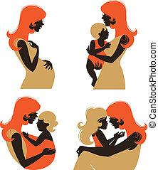 Mutter Silhouette mit Baby. Ein Set von Silhouette schwangere Frau und Mutter mit Kind in einem anderen Alter
