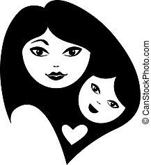 Mutter und Babysilhouetten.