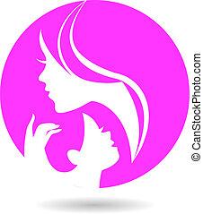 Mutter und Babysilhouetten. Der Tag der glücklichen Mutter